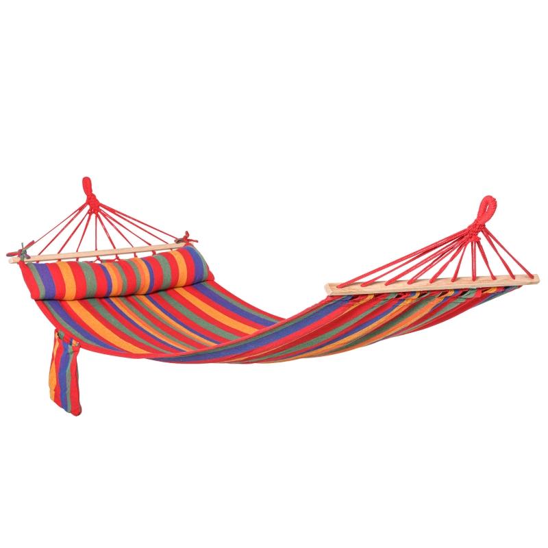 Outsunny Cotton Hammock Soft Portable Swing Sleeping Chair w/ Headrest & Side Pocket