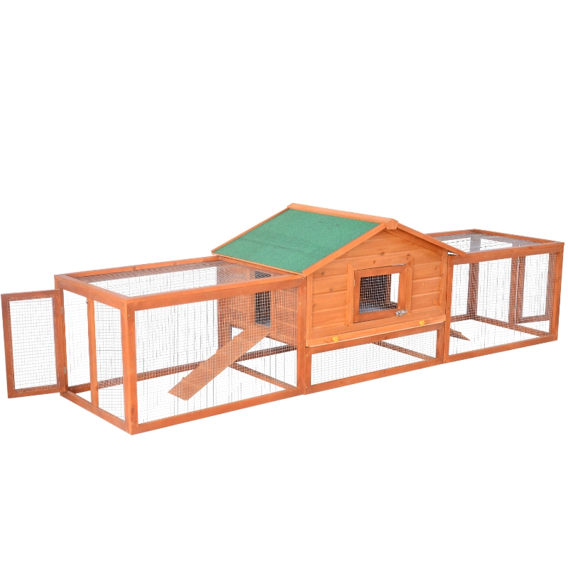 PawHut Wooden Animal Cage W/ Ramp-Golden Red