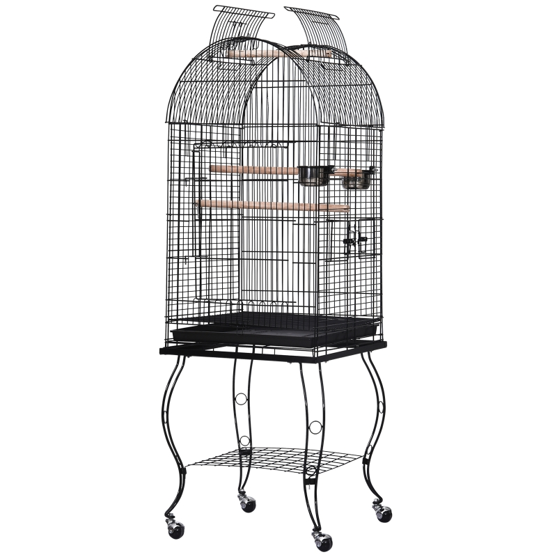 Bird Cage 51Lx51Wx137H cm, Metal Wire, Steel Pipe-Black