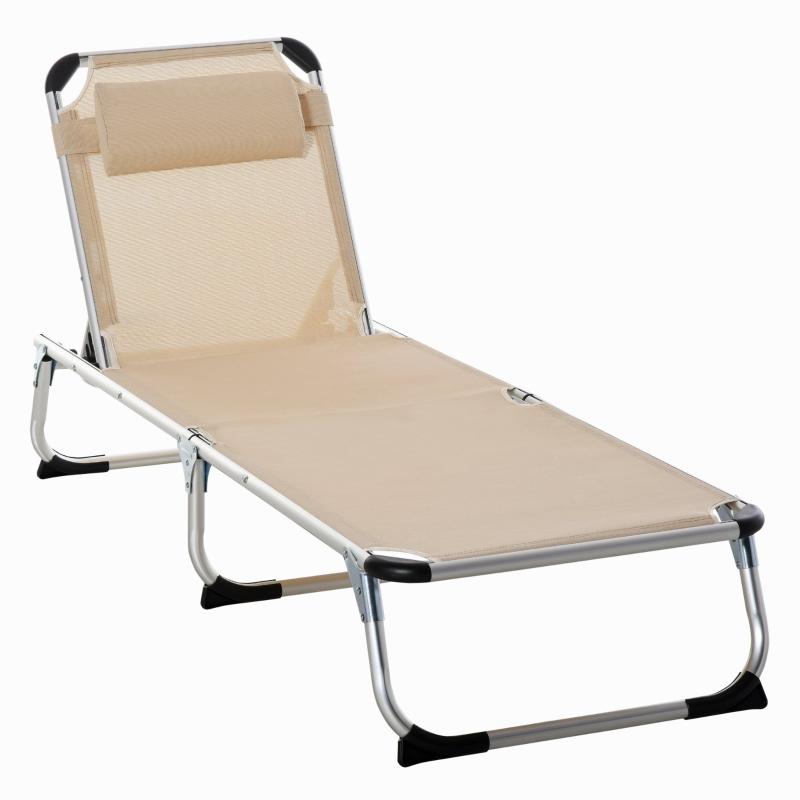 Outsunny Folding Outdoor Reclining Sun Lounger Chair w/ Pillow Aluminium Frame Khaki