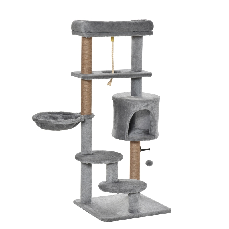 PawHut Cat Tree Tower w/ Scratching Post Hammock Hanging Ball Condo Teasing Rope