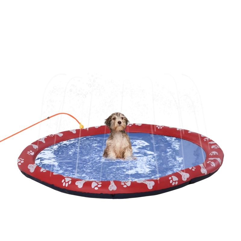 PawHut Splash Pad Sprinkler for Pets Dog Bath Pool Water Game Mat Outdoor 150cm
