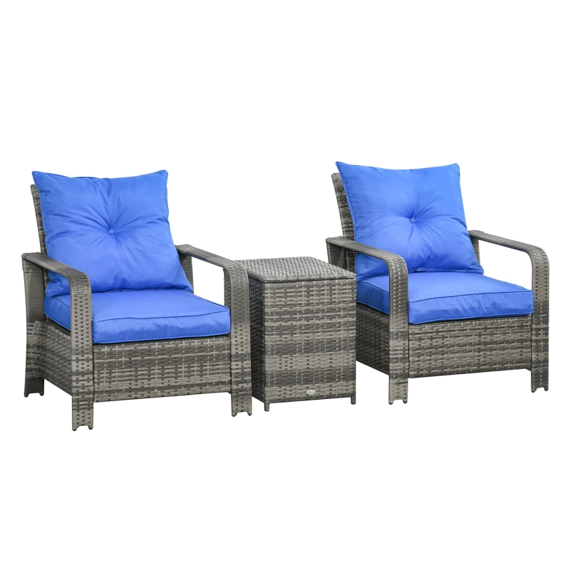 Outsunny 3 Pcs PE Rattan Garden Seating Set w/ 2 Padded Chair Storage Table Blue