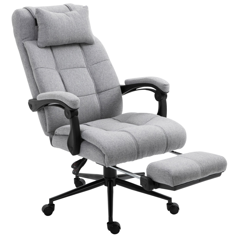 Vinsetto Ergonomic Office Chair Adjustable Height Rolling Swivel w/Armrest Light Grey