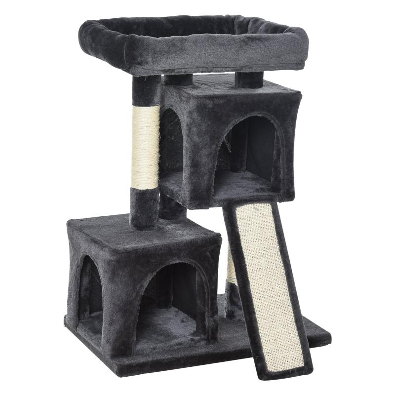 PawHut Cats 3-Tier Sisal Rope Leisure Tree Dark Grey
