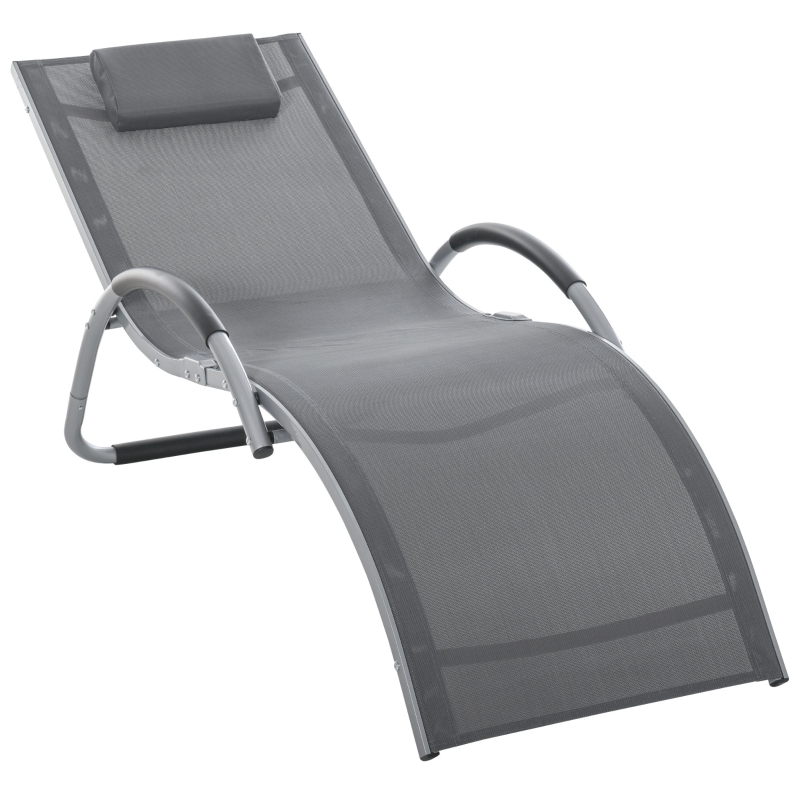 Outsunny Lounger Chair Portable Armchair with Removable Pillow for Yard Beach Dark Grey