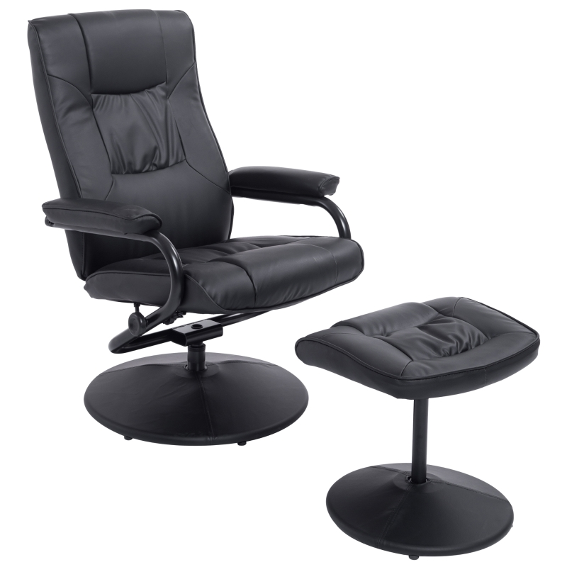 HOMCOM Swivel Recliner and Ottoman with 145° Adjustable Backrest for Home Office Black