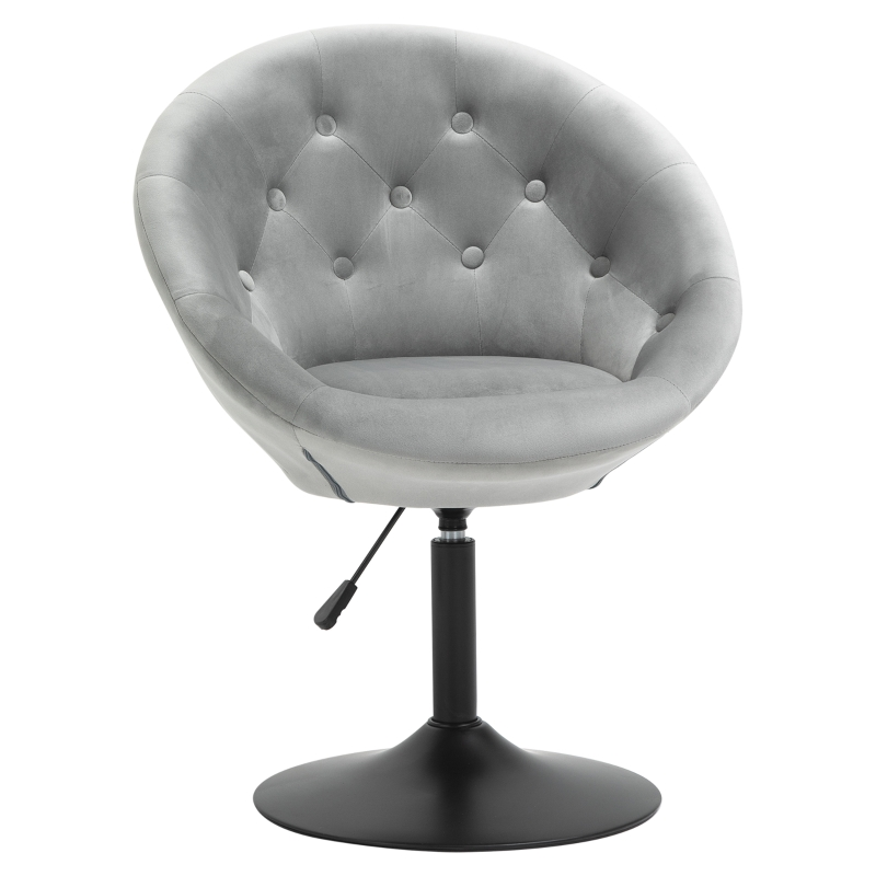 HOMCOM Dining Height Bar Stool Tufted Fabric Adjustable Height Armless Swivel Seat