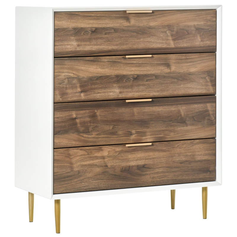 HOMCOM Chest of Drawers, 4 Drawers Storage Side Cabinet with Metal Handles and Runners