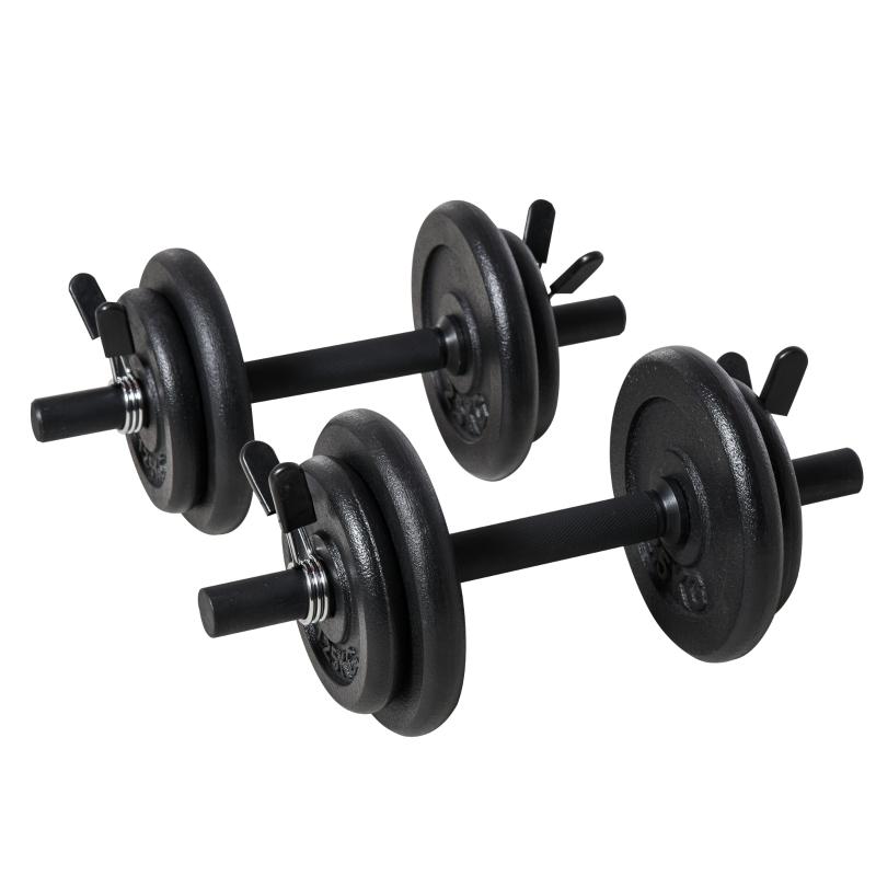 HOMCOM Adjustable Dumbbell Set for Men Woman Fitness Weight, Black