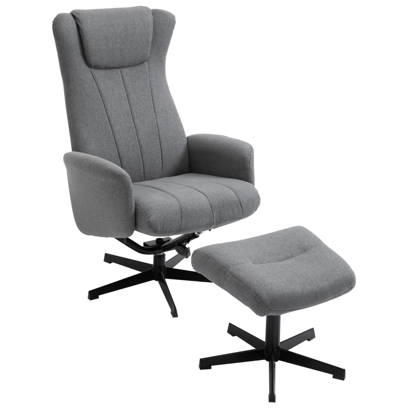 HOMCOM Recliner and Ottoman with 135° Adjustable Backrest for Home Office Dark Grey