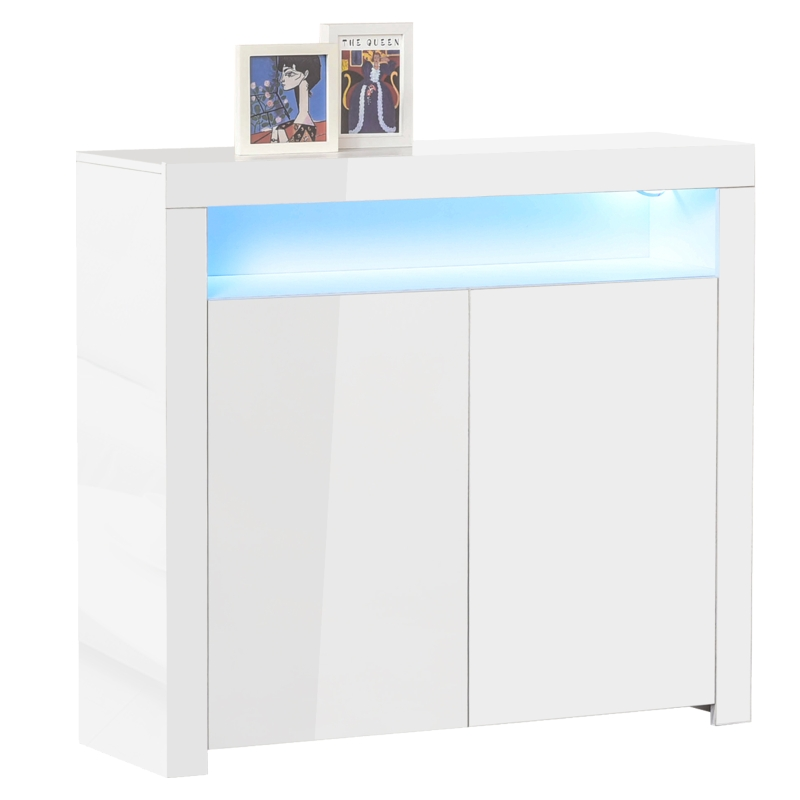 HOMCOM High Gloss LED Cabinet Cupboard Sideboard Buffet Console with RGB Lighting