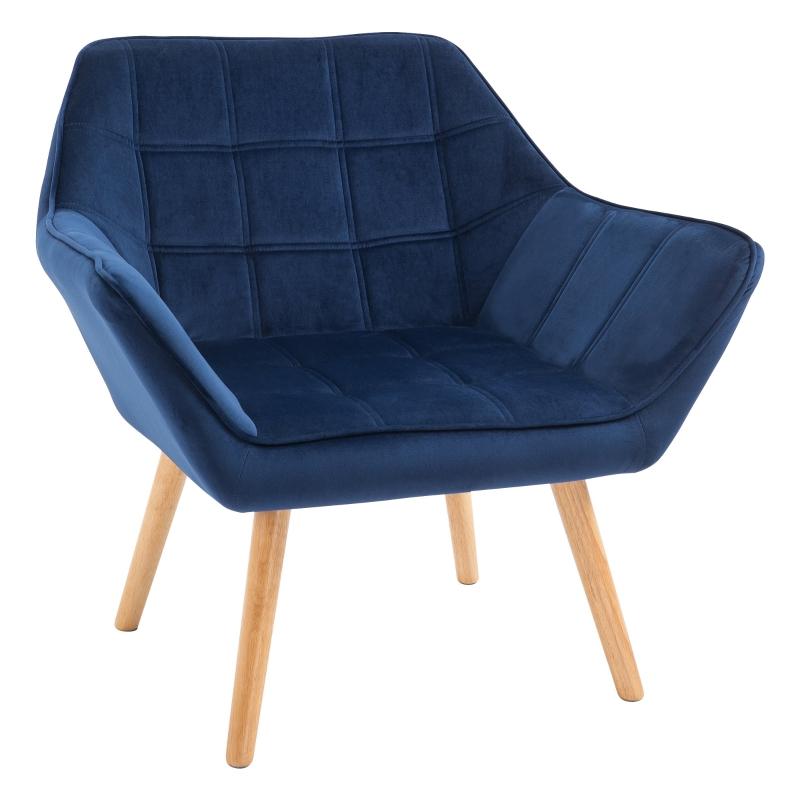 HOMCOM Faux Velvet Upholstered Wide Accent Chair Blue