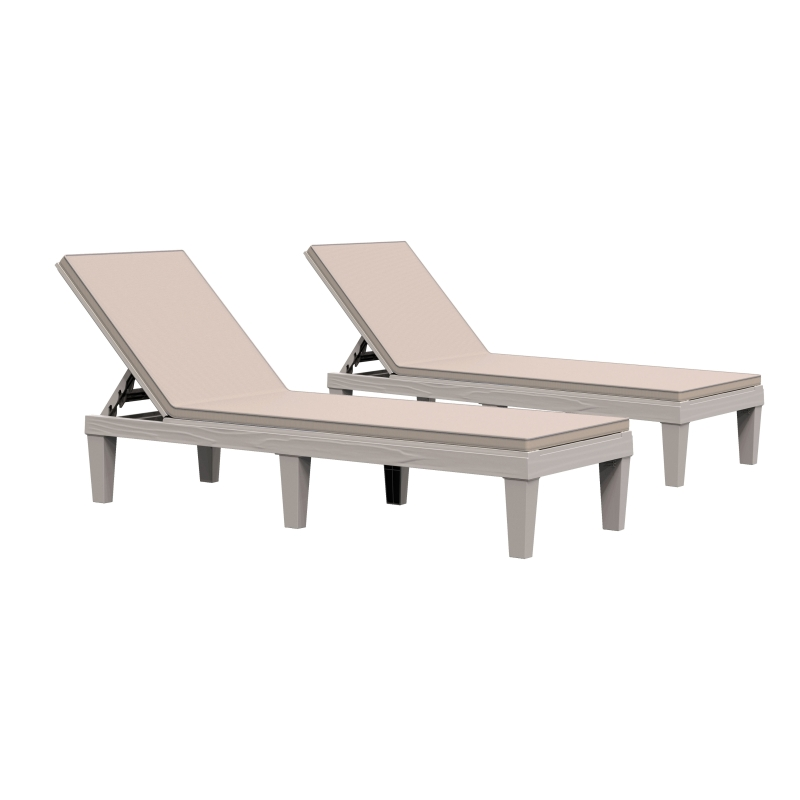 Outsunny 2PCs Patio Chaise Lounge Chair 5-Level Adjustable Back Cushions Garden Poolside
