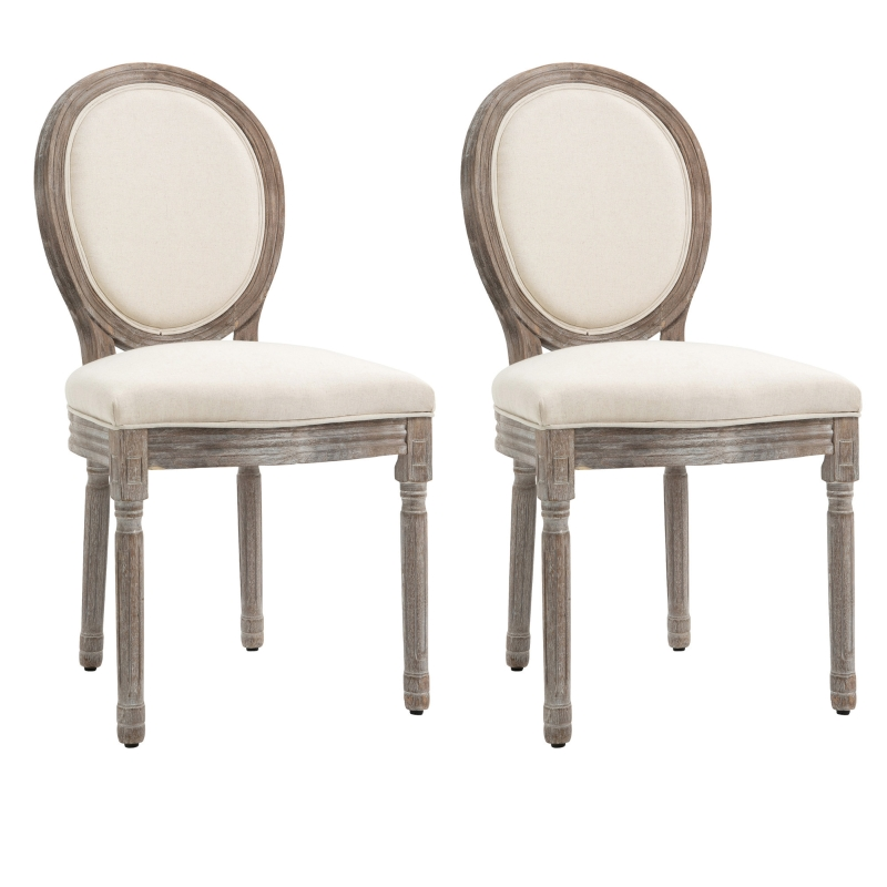 HOMCOM Rubber Wood Twin-Pair Linen Upholstered French Aesthetic Dining Chairs