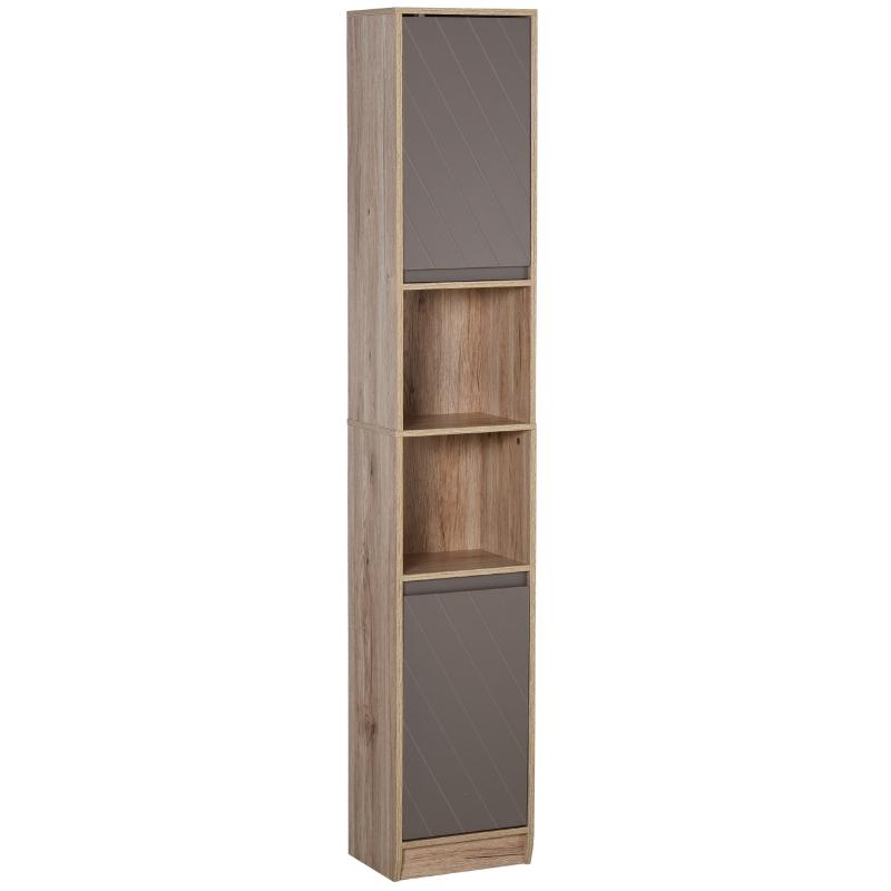 HOMCOM MDF 6-Tier Tall Bathroom Storage Cabinet Brown/Grey