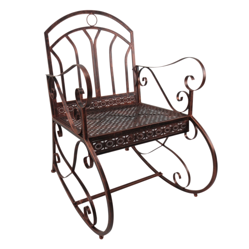 Outsunny Iron Rocking Chair-Bronze