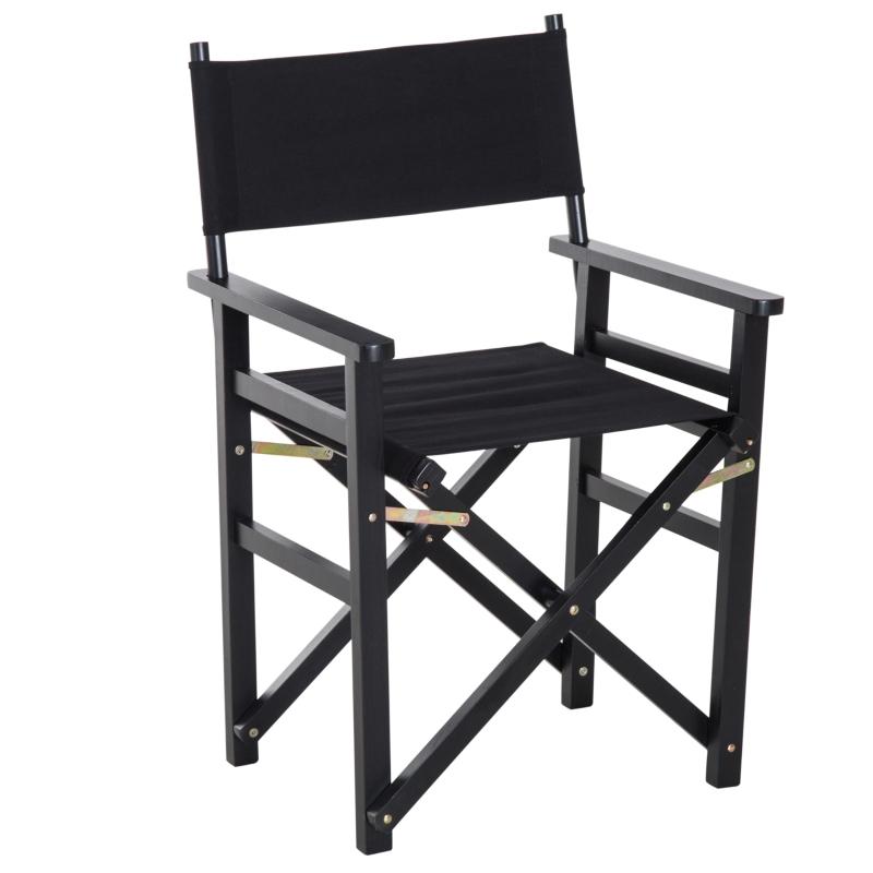 HOMCOM Wooden Director's Folding Chair, Oxford Fabric, Beech,56L-Black