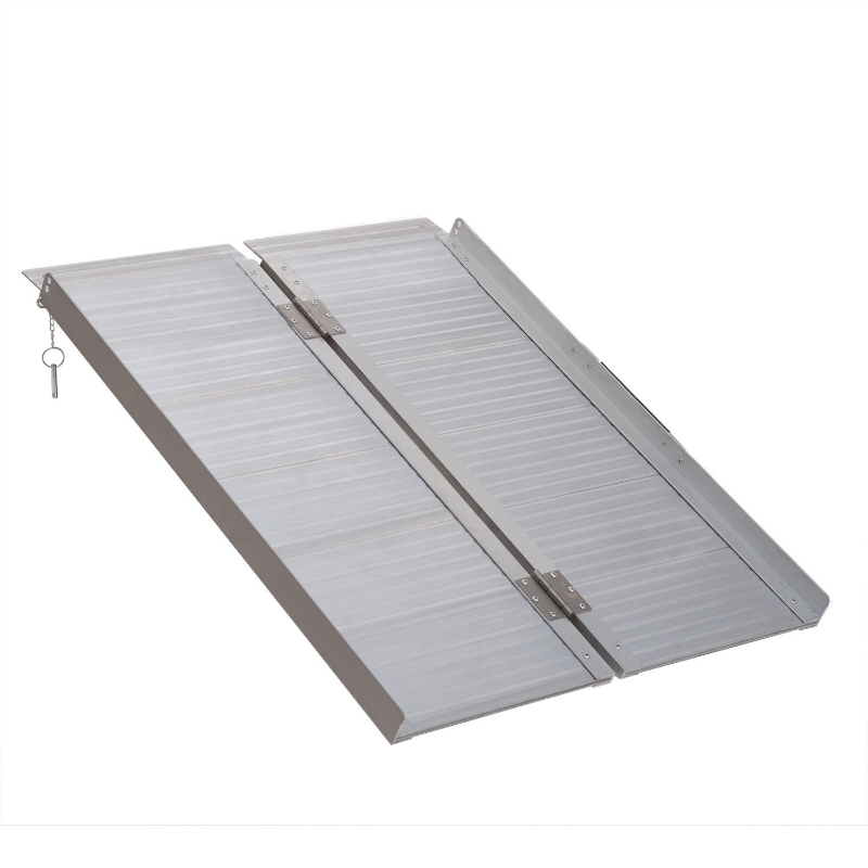 """HOMCOM Folding Aluminum Ramp W/Handle for Wheelchairs/Scooters/Pet Mobility 38.5"""""""