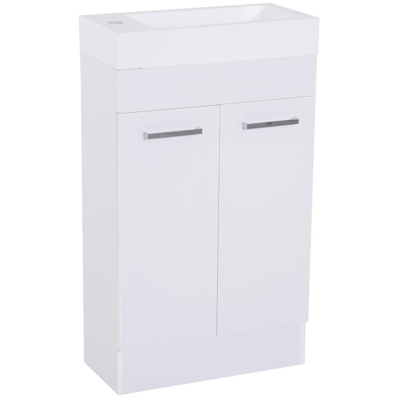 Kleankin Under Sink Bathroom Vanity Unit Ceramic Basin Sink Cloakroom Storage Cabinet Home Furniture - White