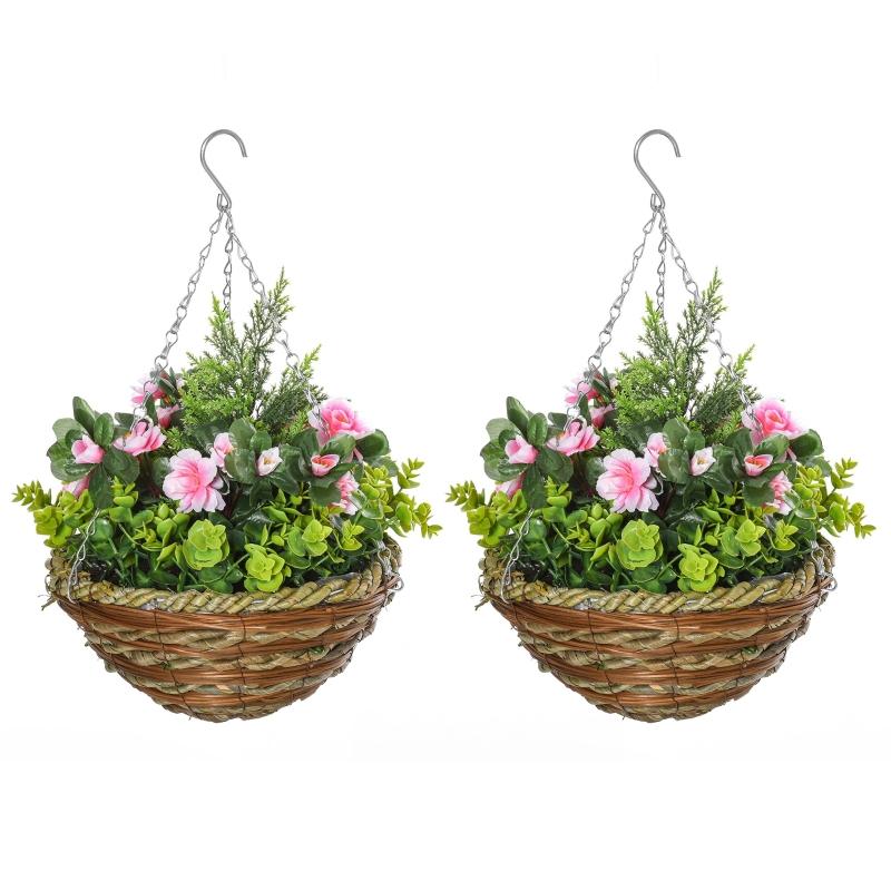 Outsunny 2 PCs Artificial Lisianthus Flower Hanging Planter Basket Indoor Outdoor Décor