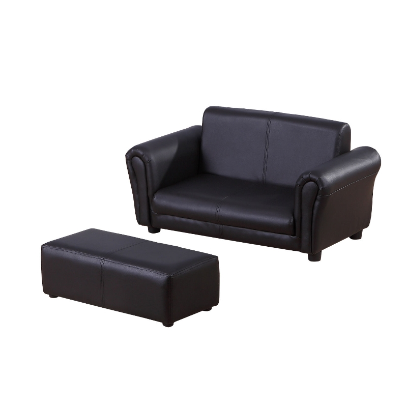 HOMCOM Kids PVC 2-Seater Mini Sofa Set w/ Footstool Black
