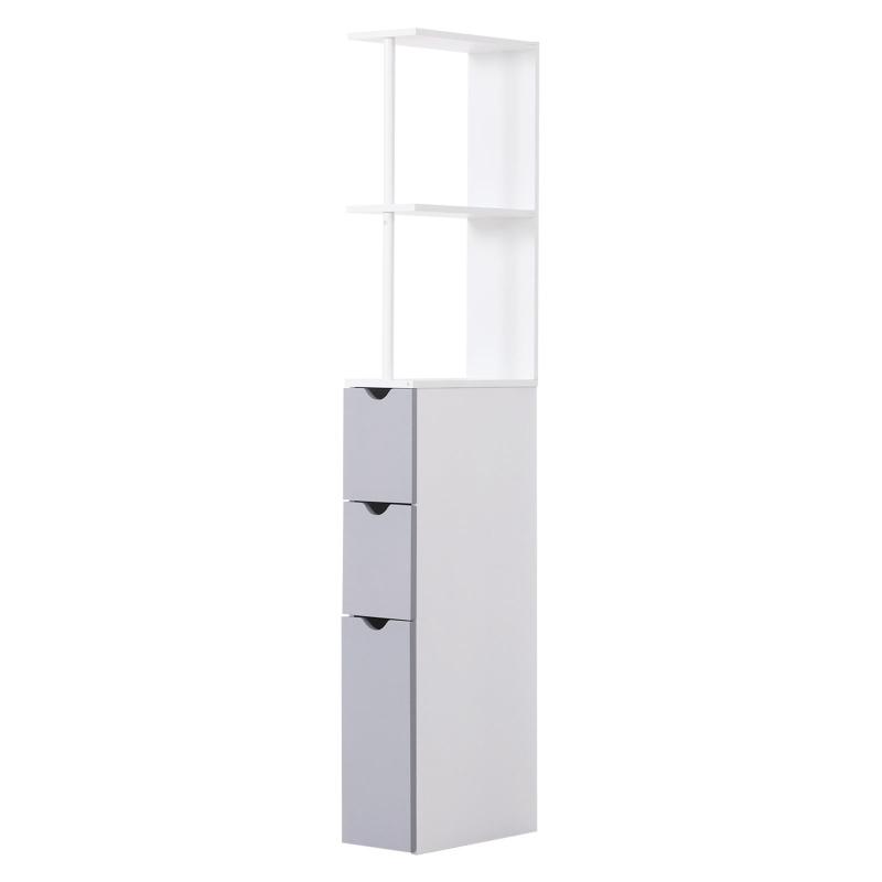 HOMCOM Bathroom Storage Cupboard,15W x 33D x 136H cm-White