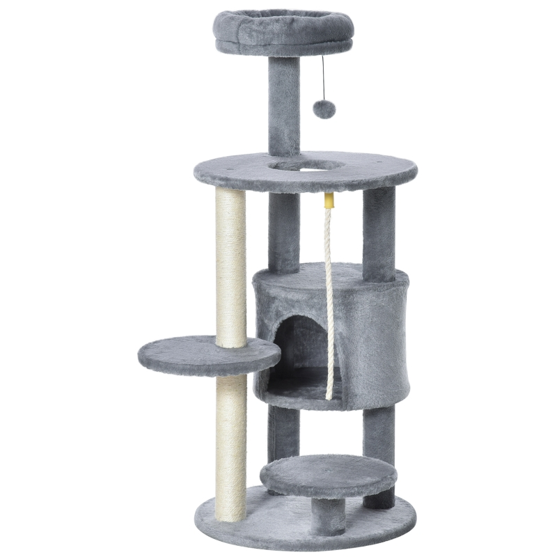 PawHut Cat Tree Tower Activity Center with Hanging Ball Toy Teasing Rope Dark grey