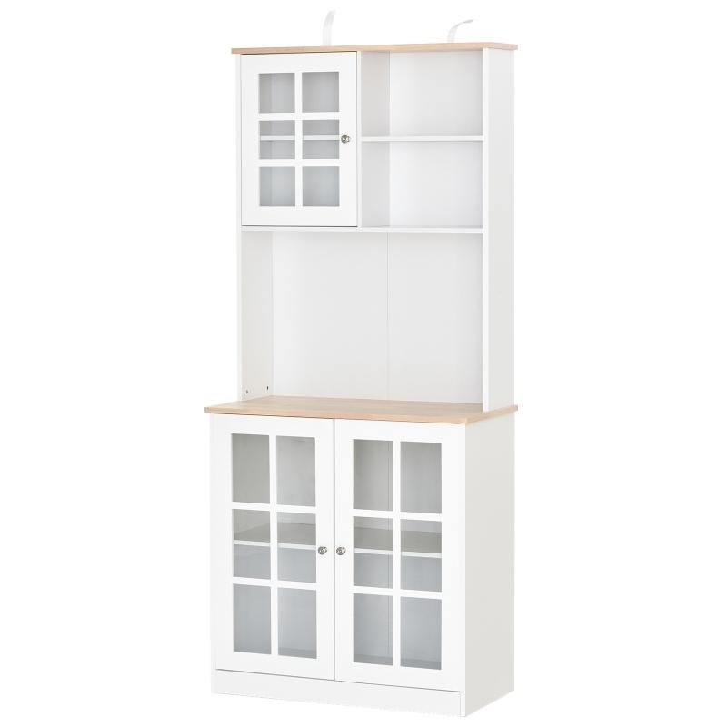 Keukenkast met werkblad, servieskast, vitrinekast, glazen deur, MDF, wit