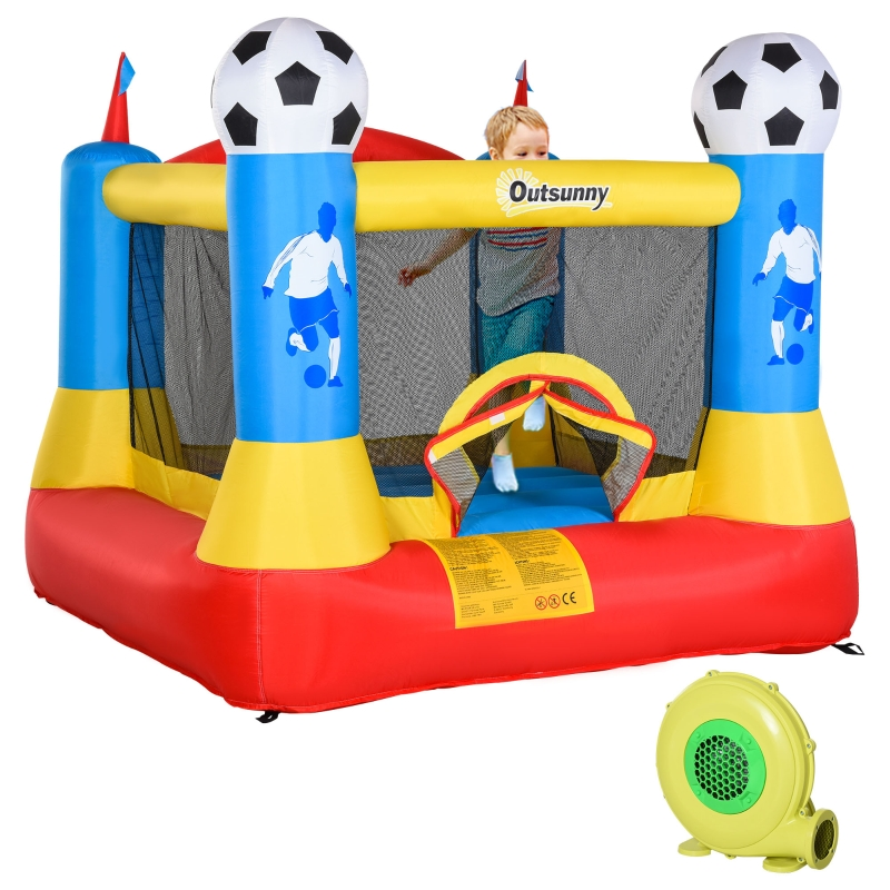 Outsunny Kids Bouncy Castle House Inflatable Trampoline with Blower for Kids Age 3-12 Football Field Design 2.25 x 2.2 x 1.95m