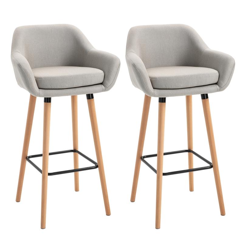 HOMCOM Linen Upholstered Set Of 2 Home Bar Stools Beige