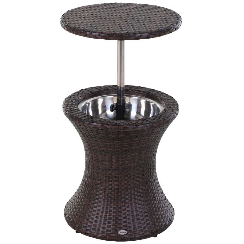 Outsunny Rattan Ice Bucket W/Table-Brown