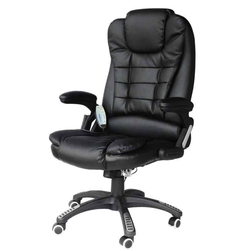HOMCOM PU Leather Office W/Massage Function, High Back-Black