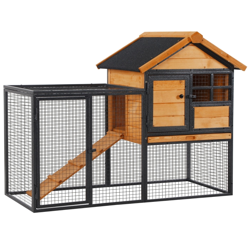PawHut Wood-metal Rabbit Hutch Elevated Pet Bunny House with Slide-Out Tray Outdoor