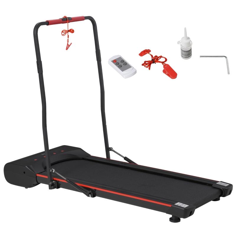 HOMCOM Elektrisches Laufband mit LCD Display Faltbar Fitnessgerät 1-6 Km/h Stahl Schwarz+Rot 133 x 61 x 103 cm