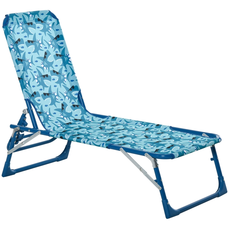 Outsunny® Kinder Sonnenliege 180° verstellbar Gartenliege Klappbar für 2-6 Jahre Blau