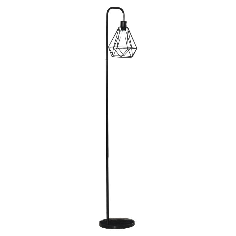 HOMCOM® Stehlampe Industriestil Standleuchte Sockel E27 Schwarz Stahl Marmor
