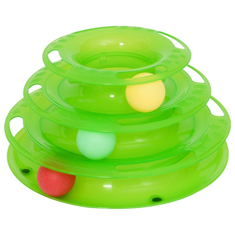PawHut® Katzen Spielturm Spielzeug Kugelbahn Kreisel mit 3 Bällen 3 Etagen Grün