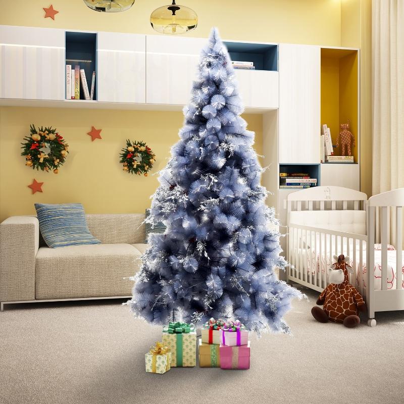 HOMCOM® Weihnachtsbaum 2,1 m Christbaum Kunsttanne 222 Äste mit Beere Metallfuß PET Grau ∅95 x H210 cm
