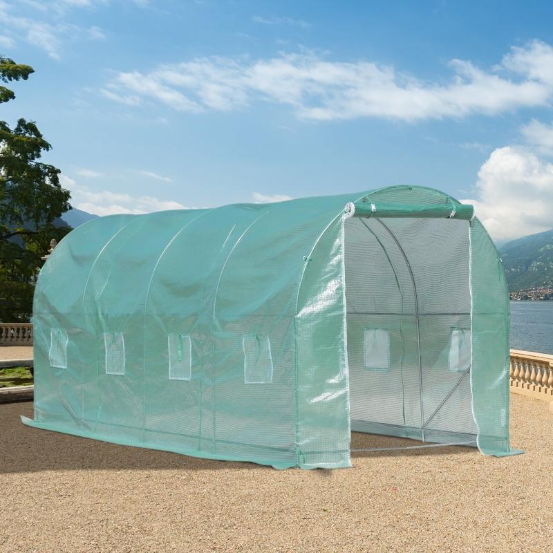Outsunny® Pflanztunnel Foliengewächshaus Treibhaus 8 Fenster Tomatengewächshaus PE + Stahl Grün 500 x 200 x 210 cm