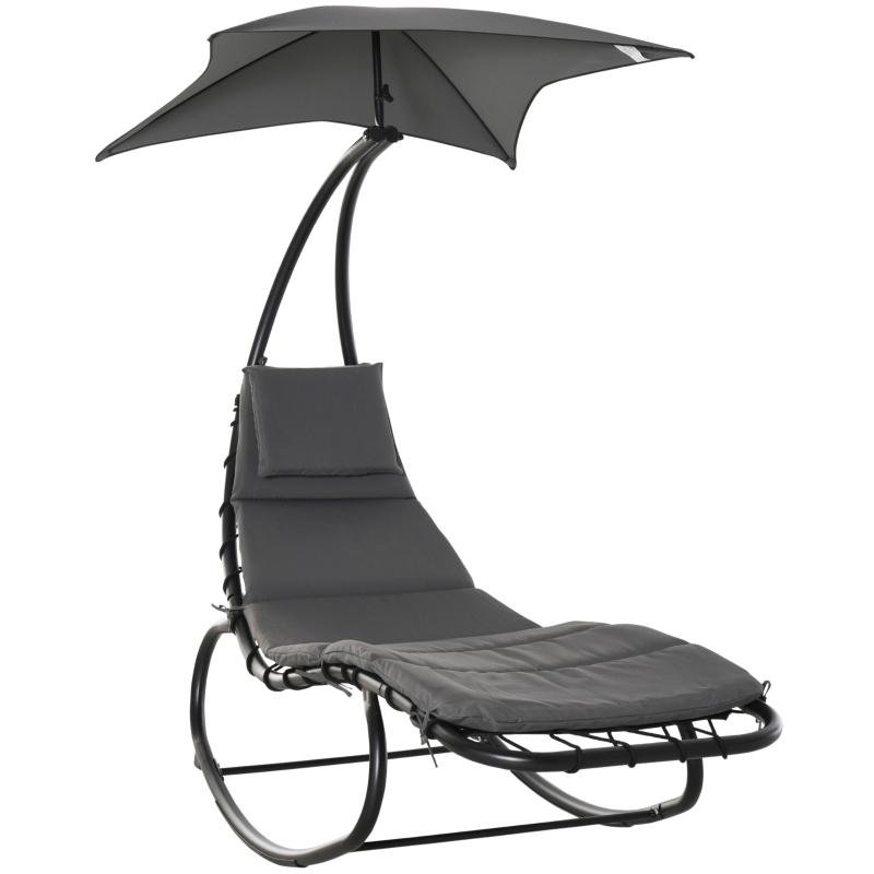 Outsunny® Schaukelliege Garten Schaukelstuhl Relaxliege mit Dach Balkon Dunkelgrau