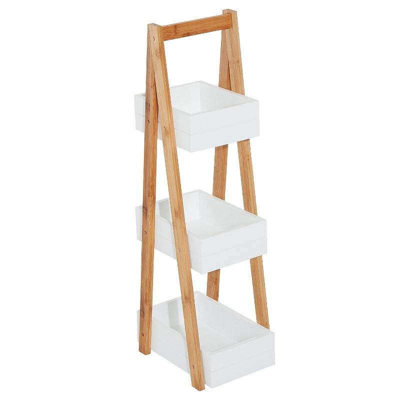 HOMCOM® Badregal Treppenregal 3 Ebenen Leiterregal Badzimmer Lagerregal Regal Weiß