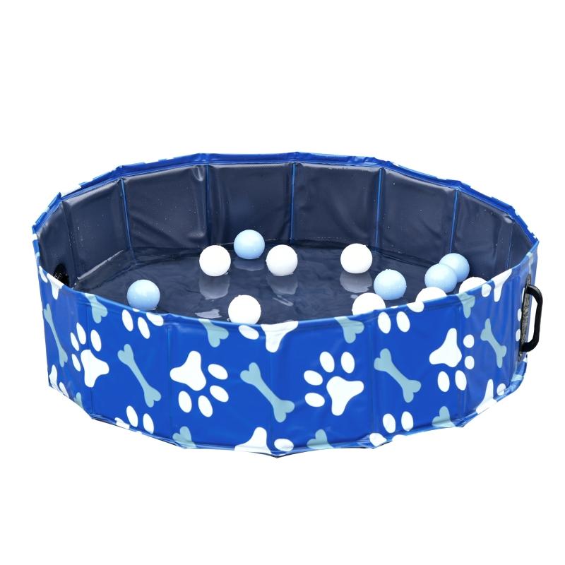 PawHut® Hundebadewanne Hundepool Hunde Badewanne Wasserbecken faltbar Ø80x20Hcm