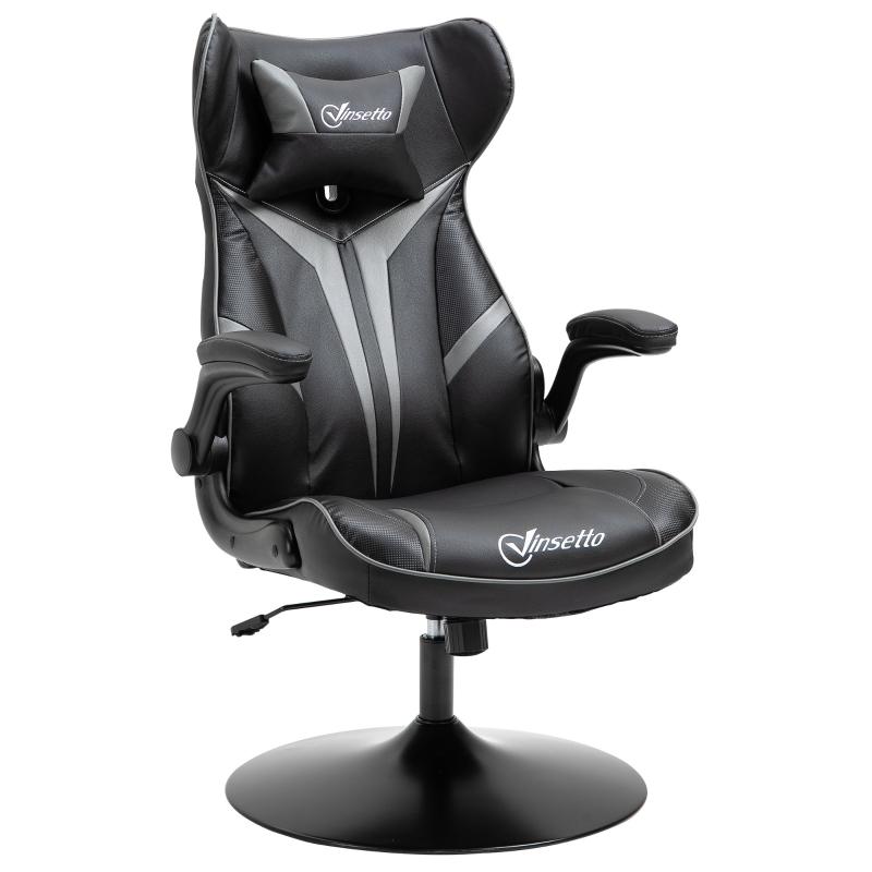 Vinsetto® Gaming Stuhl Ergonomischer Computerstuhl mit Wippenfunktion Stahl Schwarz