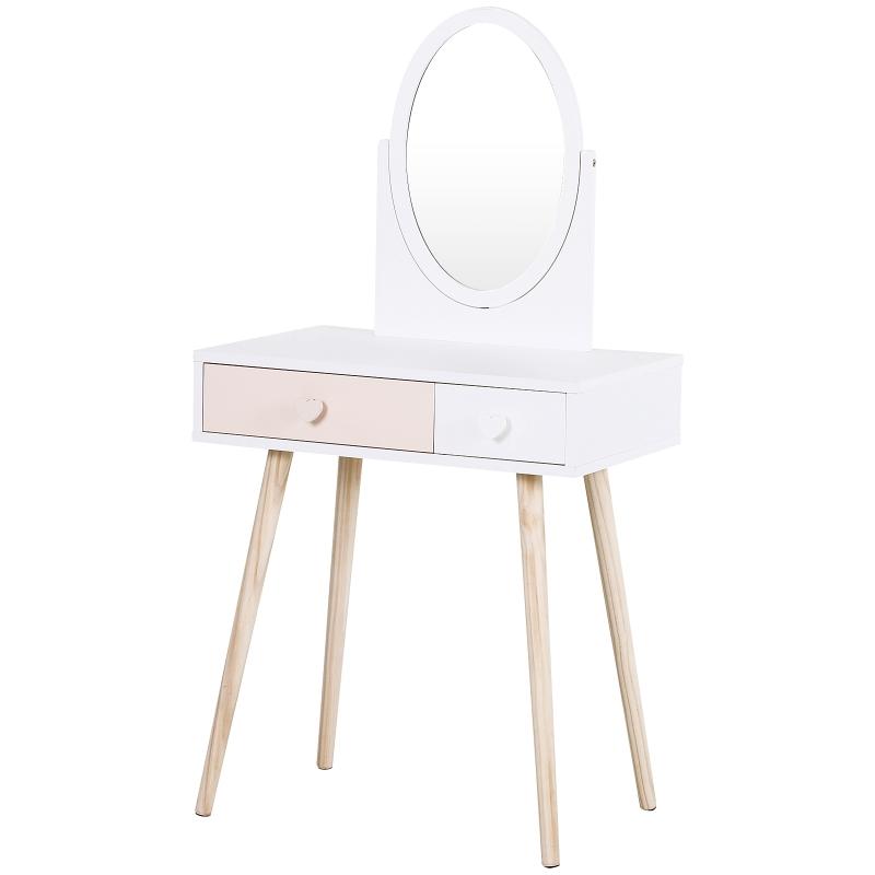 HOMCOM® Schminktisch Kinder Kosmetiktisch Schreibtisch Spiegel 2 Schubladen Massivholz