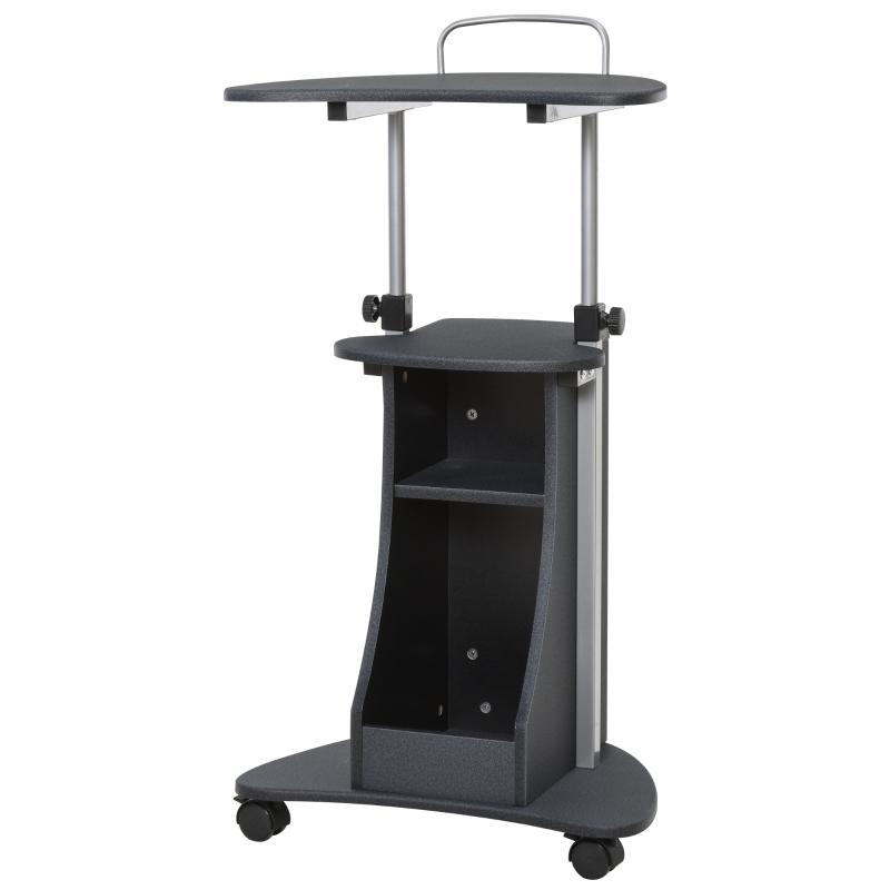 HOMCOM® Laptoptisch Laptop Ständer mit Rollen und Ablagefläche höhenverstellbar Stahl