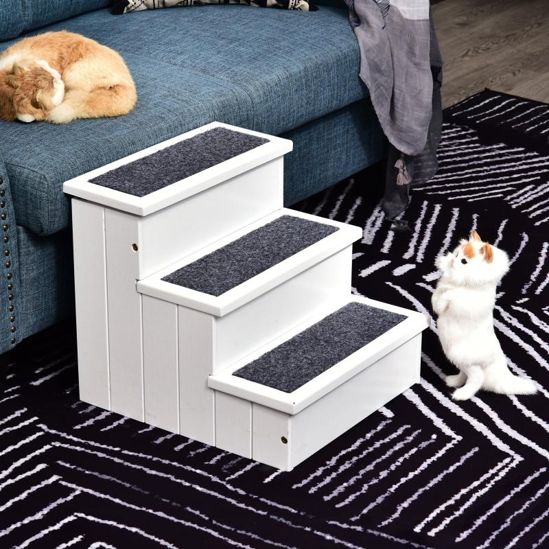 PawHut® Hundetreppe mit Teppichbezug Katzentreppe Haustier Zubehör Kieferholz Weiß