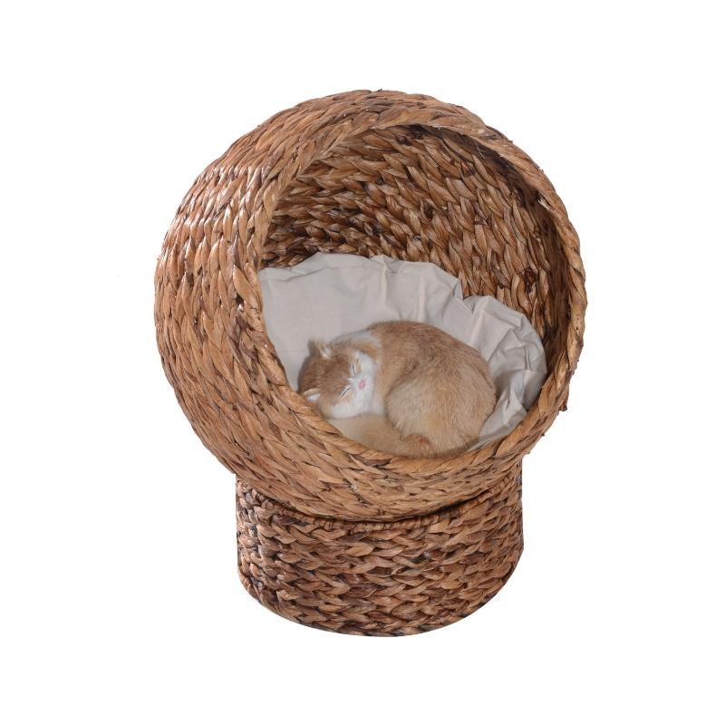 PawHut® Katzenhöhle, Katzenbett mit Kissen, Erhöhter Katzenkorb, Bananenblatt, Braun, 42 x 33 x 52 cm