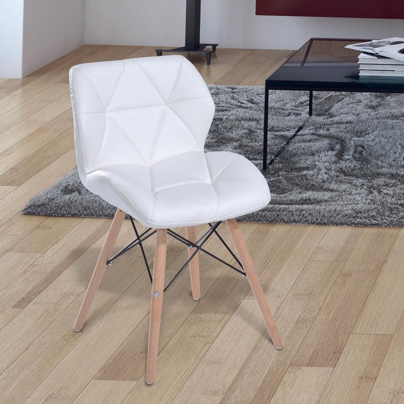 HOMCOM® Polsterstuhl Holz weiß