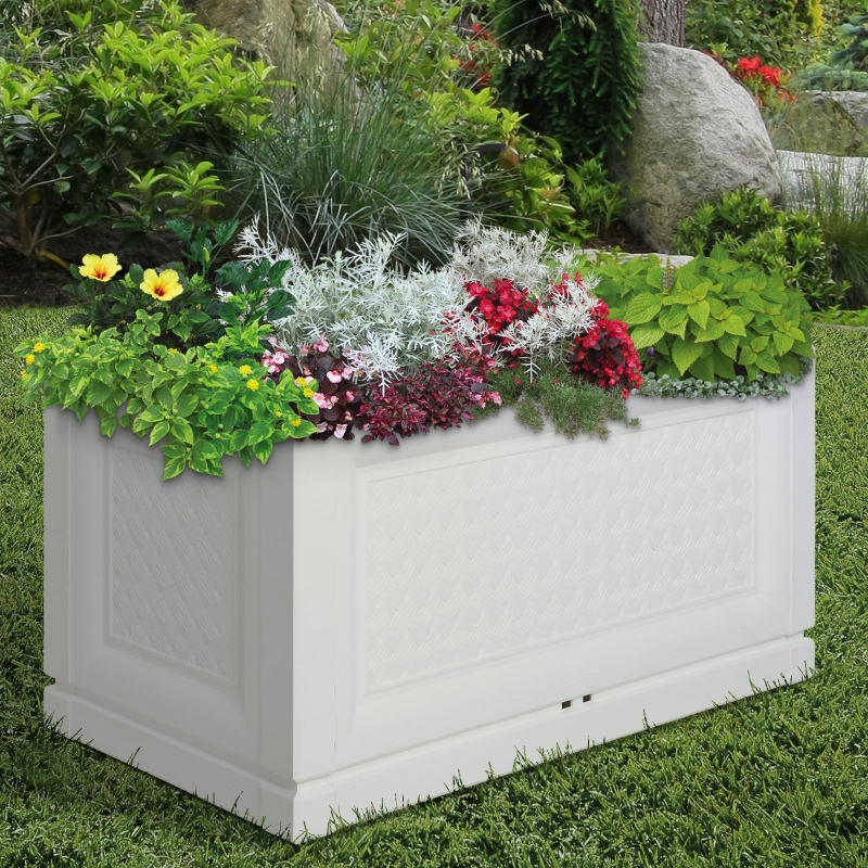 Outsunny® Hochbeet Gartenbeet Pflanzkasten Blumenkasten 2 Muster Abflusslöcher PP Weiß 80 x 40 x 38 cm